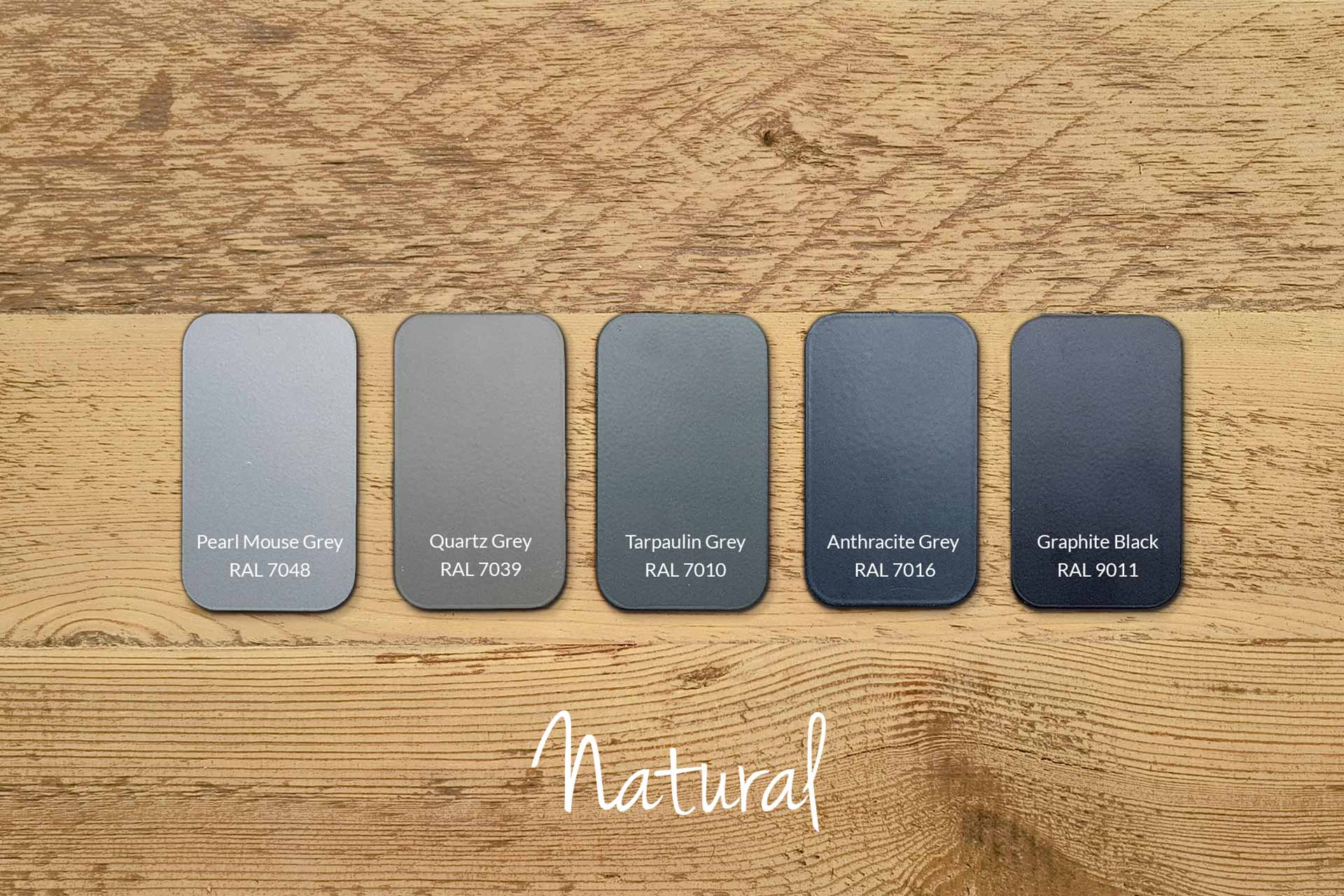 Examples of Matt Frame Colours with Our Natural Wood (samples & other colours available)