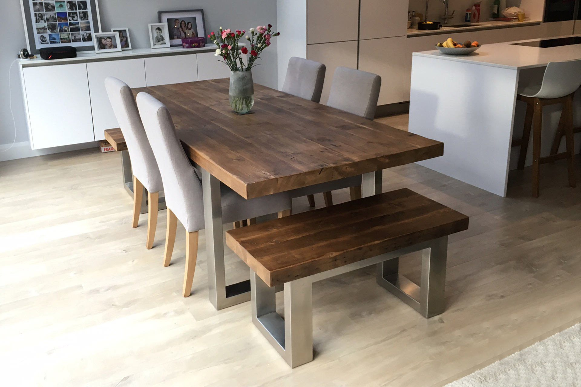 Classic 223cm Long Overhang Table With End Benches & Annabel Chairs (Sold Separately)