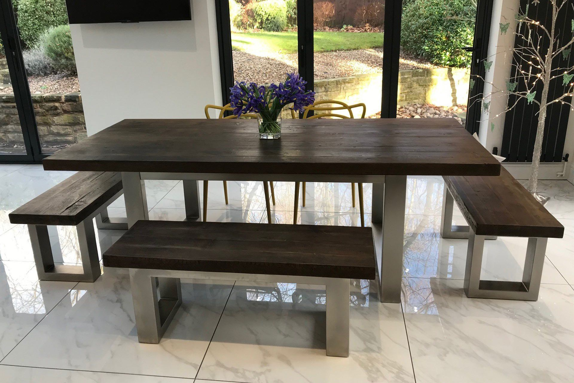 Classic 223cm Long Overhang Table With End Benches & Side Bench (Sold Separately)