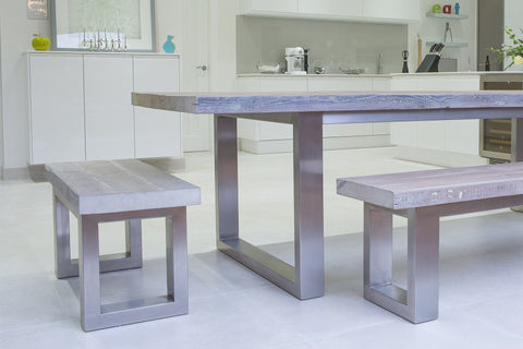 Grey 100cm End Bench & 178cm Bench With 284cm Long Overhang Table (Sold Separately)