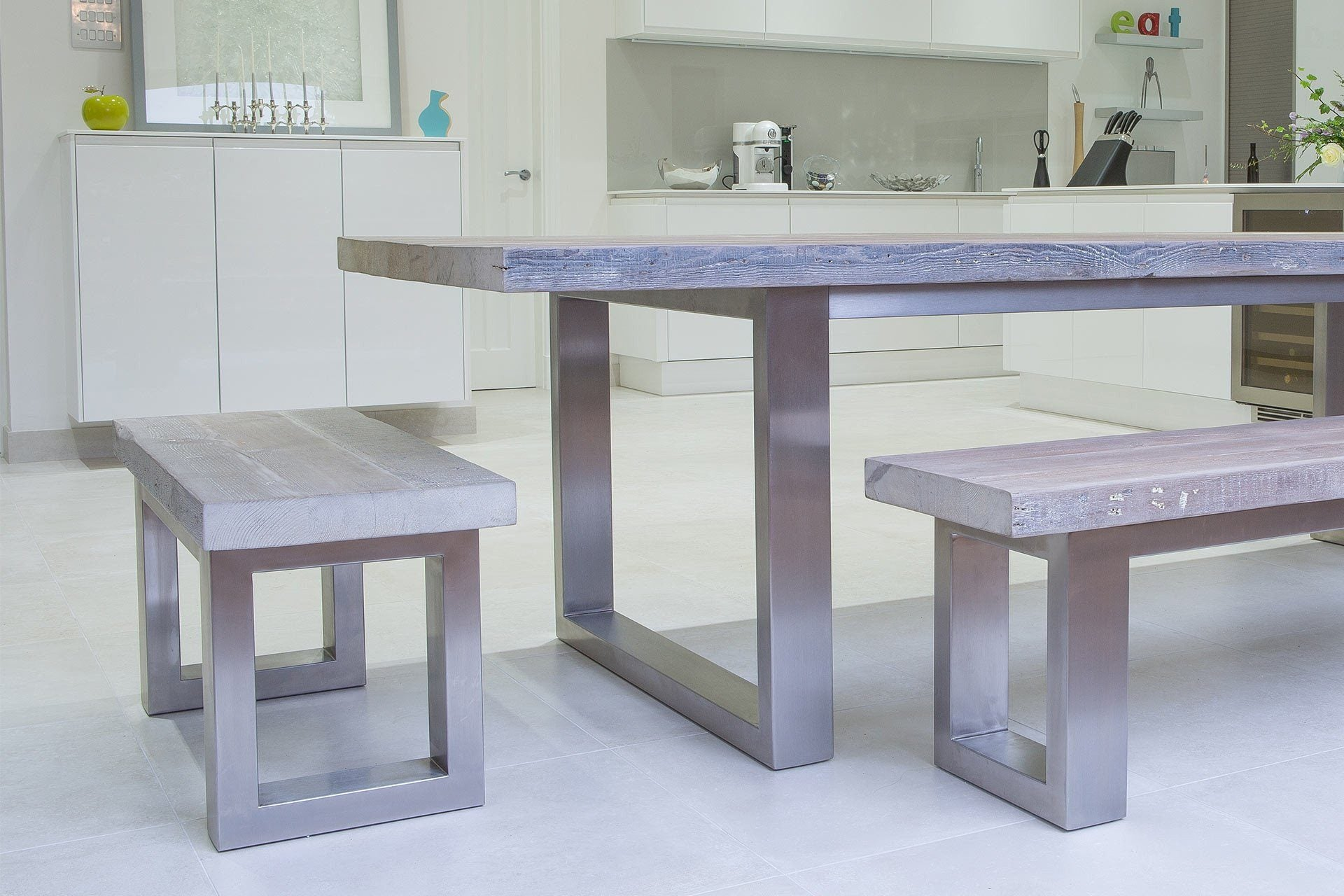 Grey Long Overhang Table With Side & End Benches (Sold Separately)