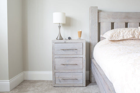 Grey 3 Drawer Bedside Table With Bar Handles