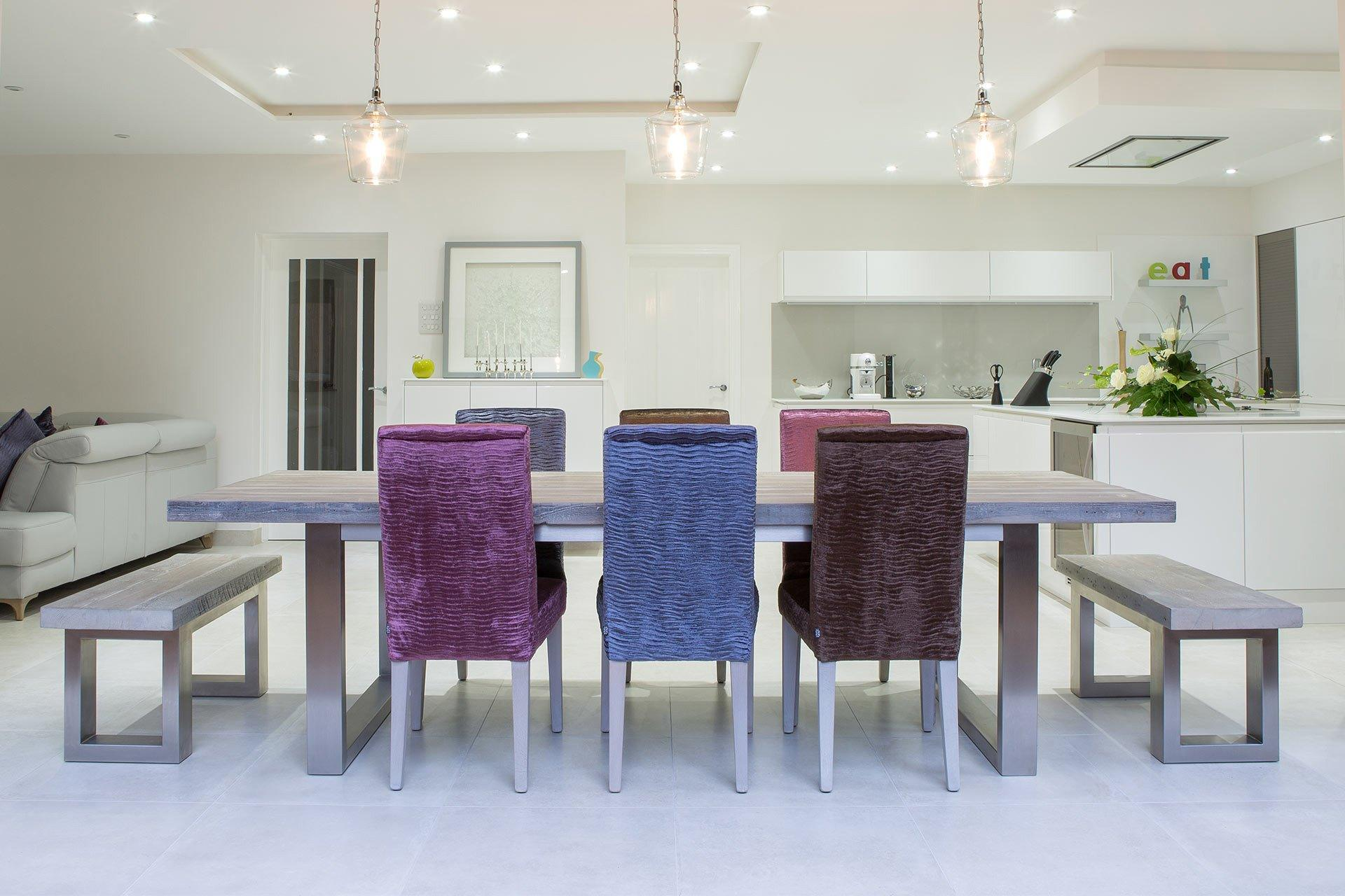 Grey 284cm Long Overhang Table With End Benches & Annabel Chairs (Sold Separately)