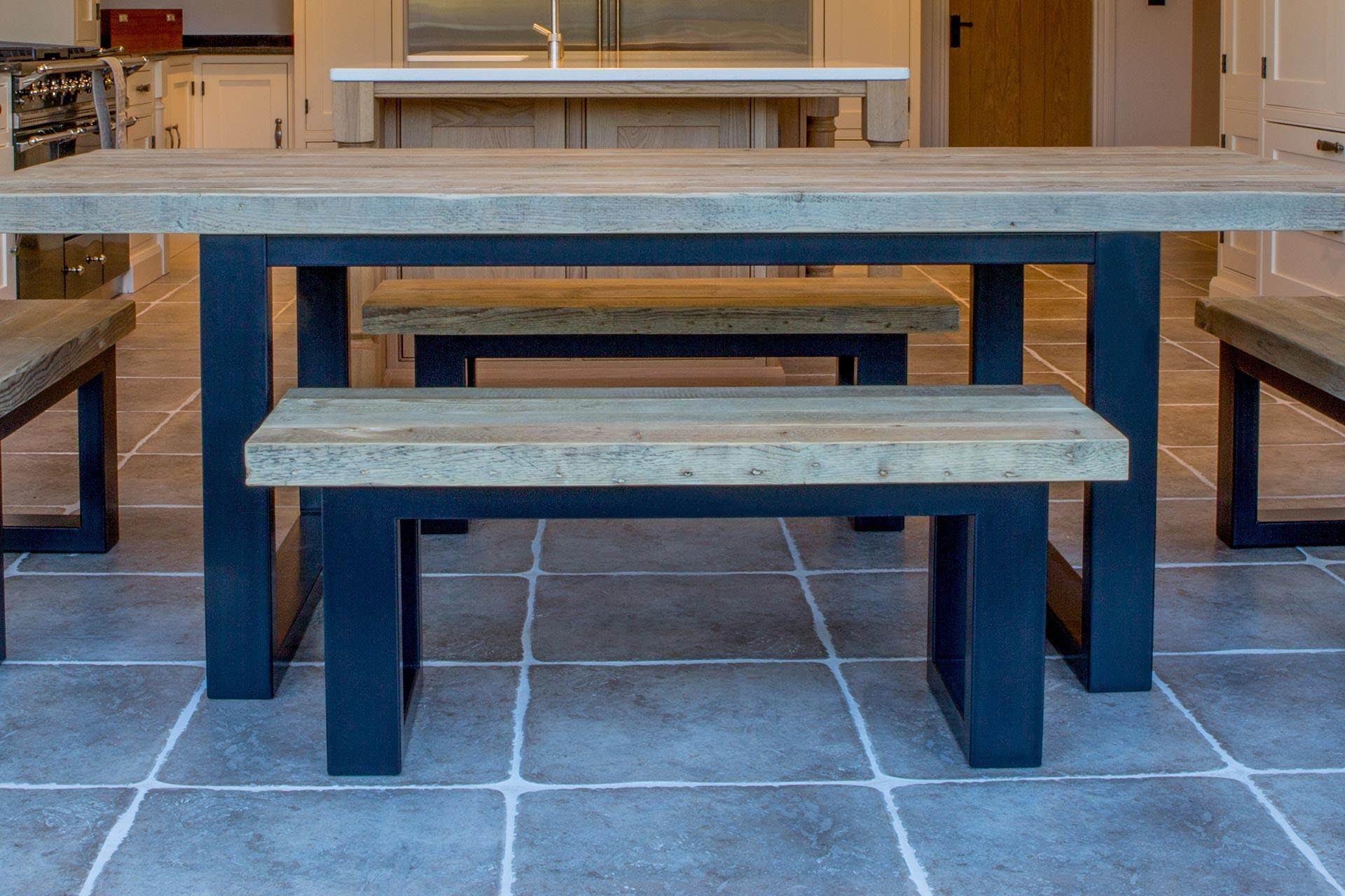 Natural 223cm Dining Table & Benches with Graphite Black Powder Coated Frames (Sold Separately)