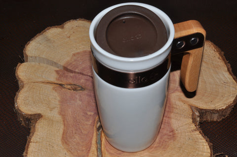 Ceramic Tumbler with Wood Handle 12 oz