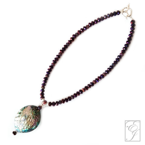 Abalone and Royal Purple Fire Polished Necklace 19 inches