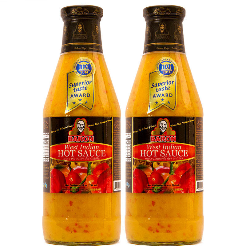 Baron West Indian Hot Sauce 28oz (Pack of 2)