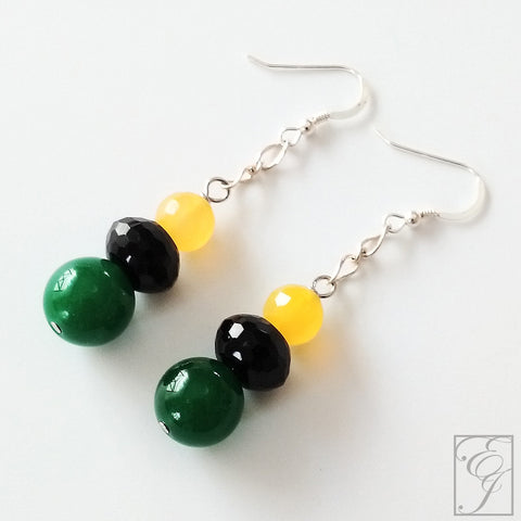 Black Green and Yellow Jamaican Drop Earrings 1