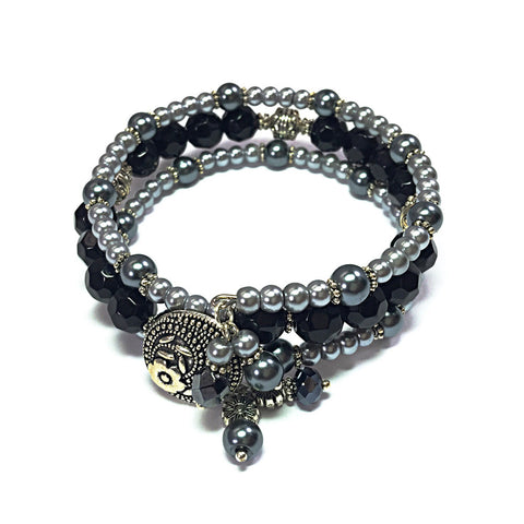 Black and Silver Bohemian-Style Beaded Wrap Bracelet