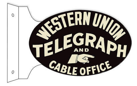 Western Union Telegraph Flange Oval Reproduction Sign 12″x18″