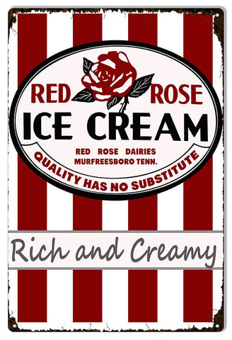 Red Rose Ice Cream Country Reproduction Sign 12″x18″