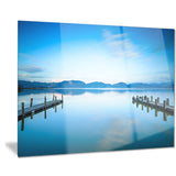 two wooden piers in blue sea seascape photo canvas print PT8370
