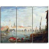 MasterPiece Painting - Frederick Nash The Monument and London Bridge