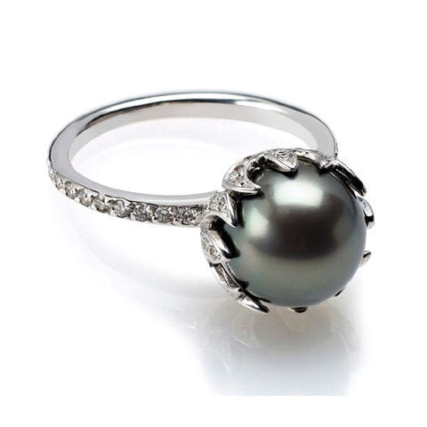 Sterling Silver Tahitian Pearl Diamond Ring