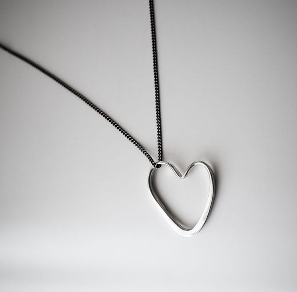Open Heart Silver Necklace - Necklaces