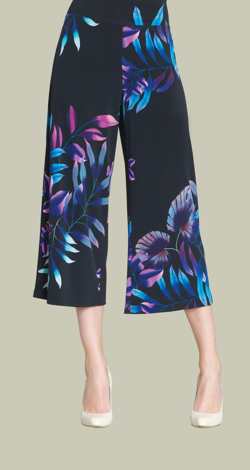Tropical Leaf Print Modern Pull On Gaucho Pant - Pink Multi - Limited Sizes  -  XL Only!