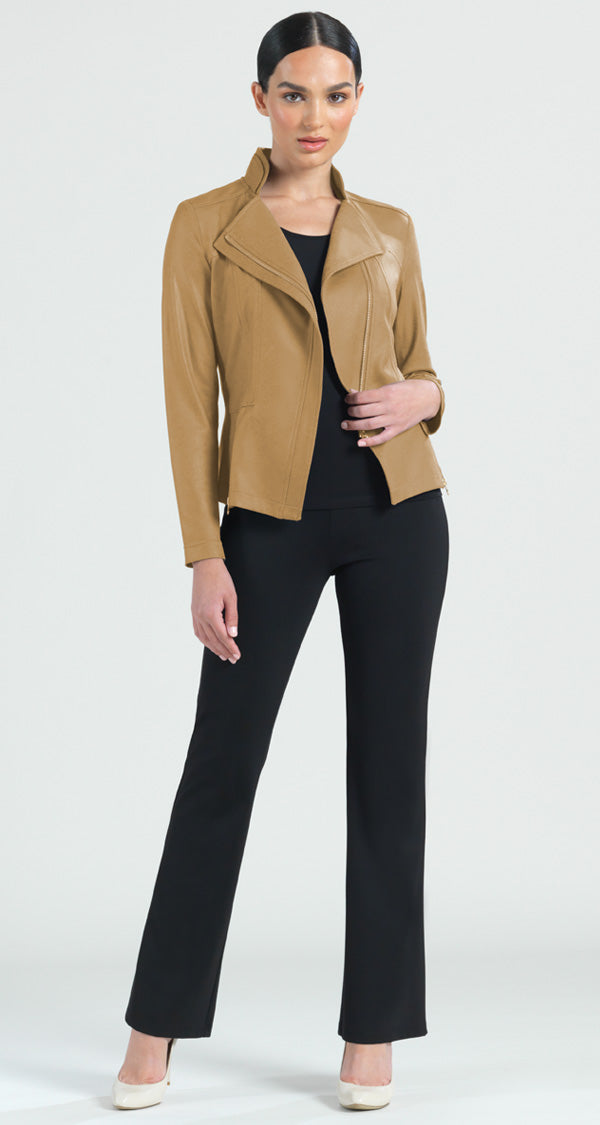 Liquid Leather Zip Jacket - Camel - Clara Sunwoo