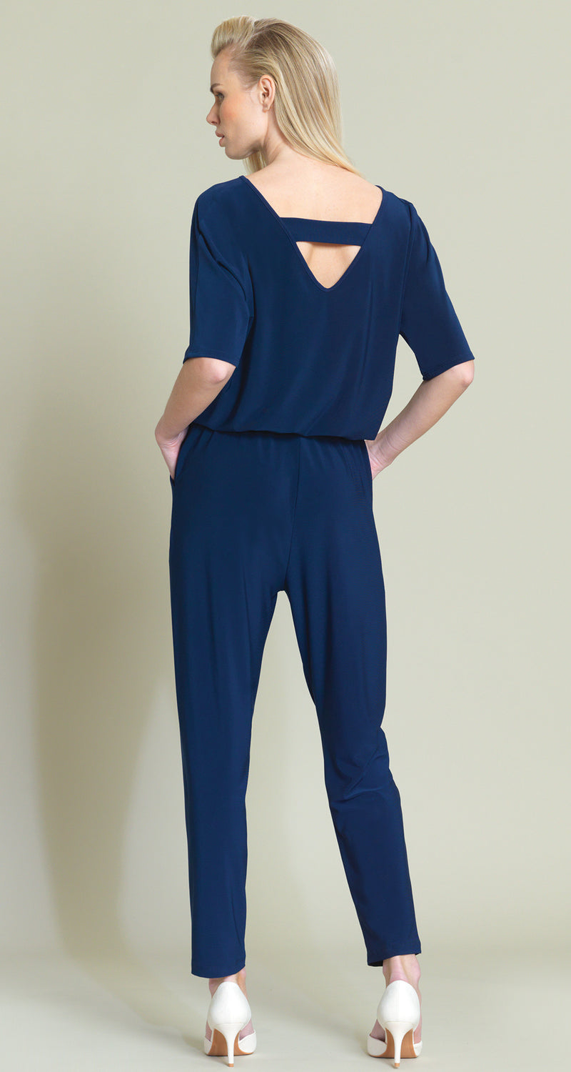 Solid V-Cross Bar Cut-Out Jogger Pocket Jumpsuit - Navy - Limited Sizes!