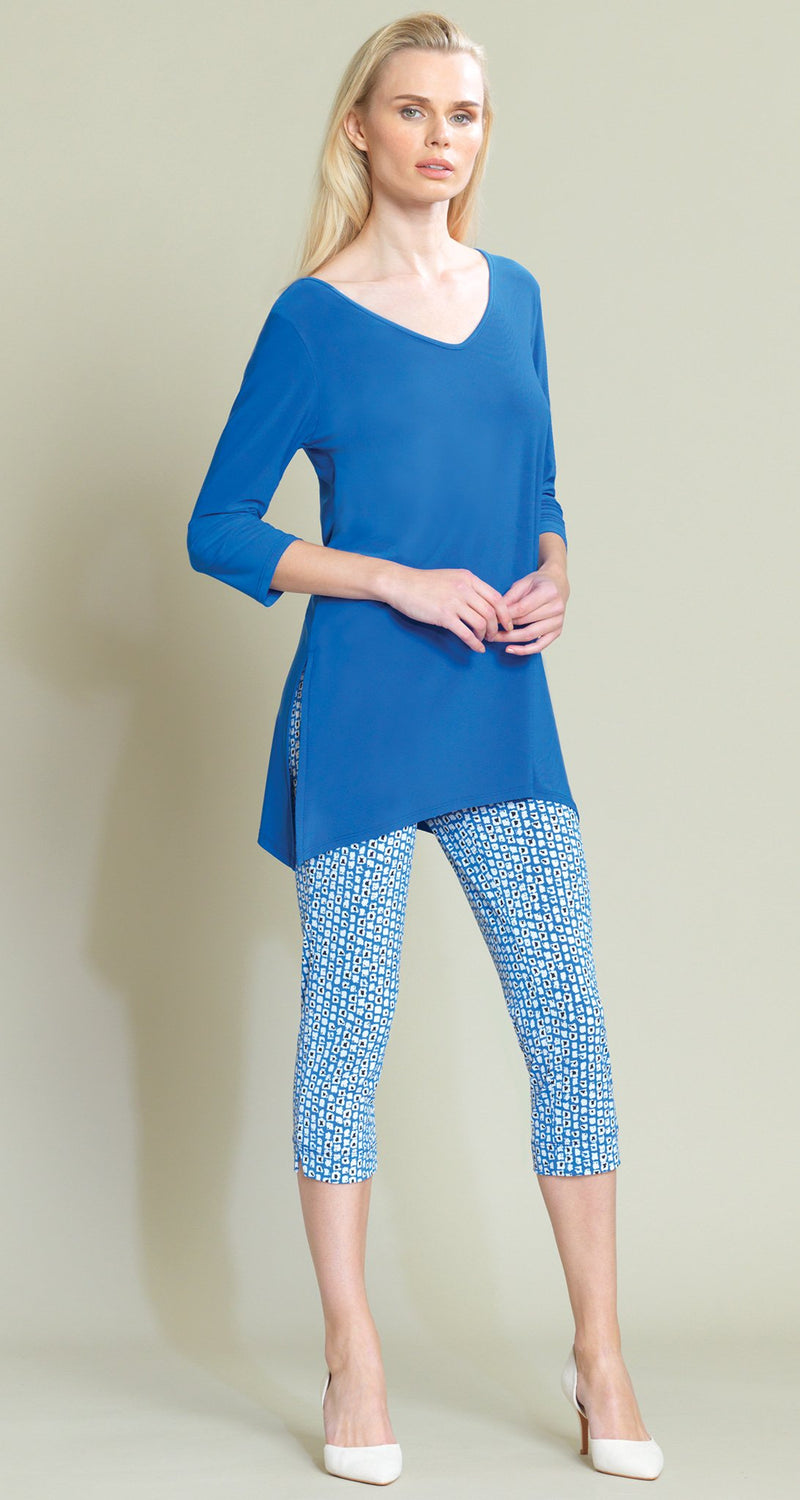 V Side Vent Solid Tunic - Dazzling Blue