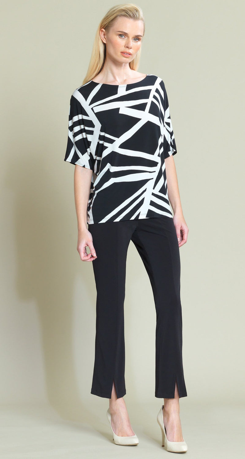 Geo Stripe Print V-Cross Bar Cut-Out Top - Clara Sunwoo