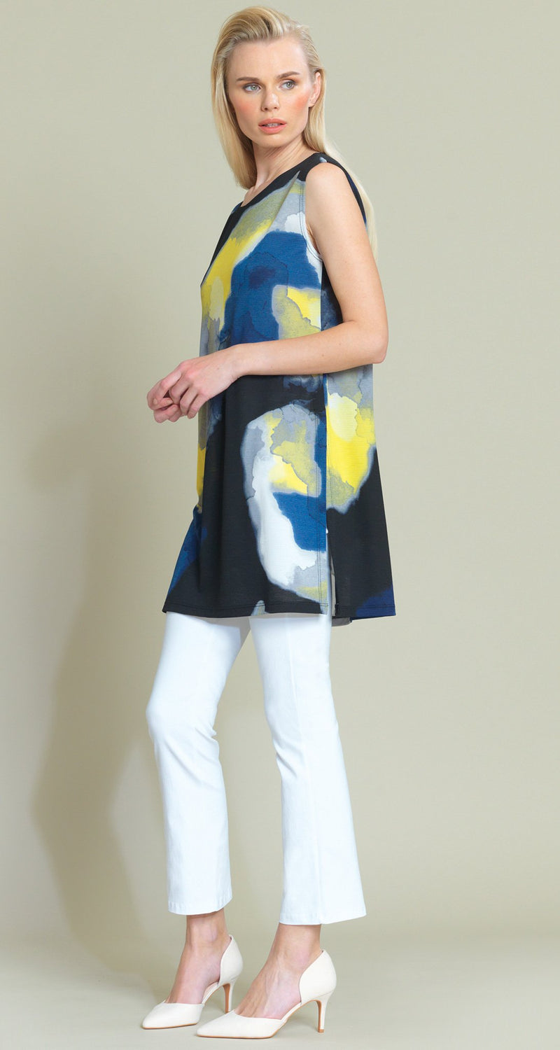 Watercolor Crepe Knit Dual Vent Tunic Tank - Yellow Multi - Final Sale!