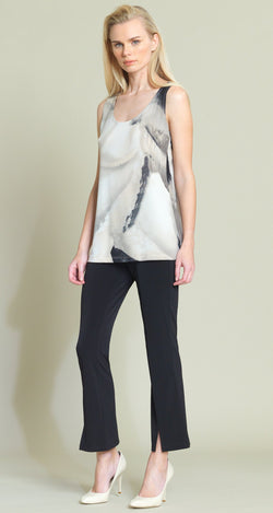 Watercolor Mid-Length Tank - Taupe Multi