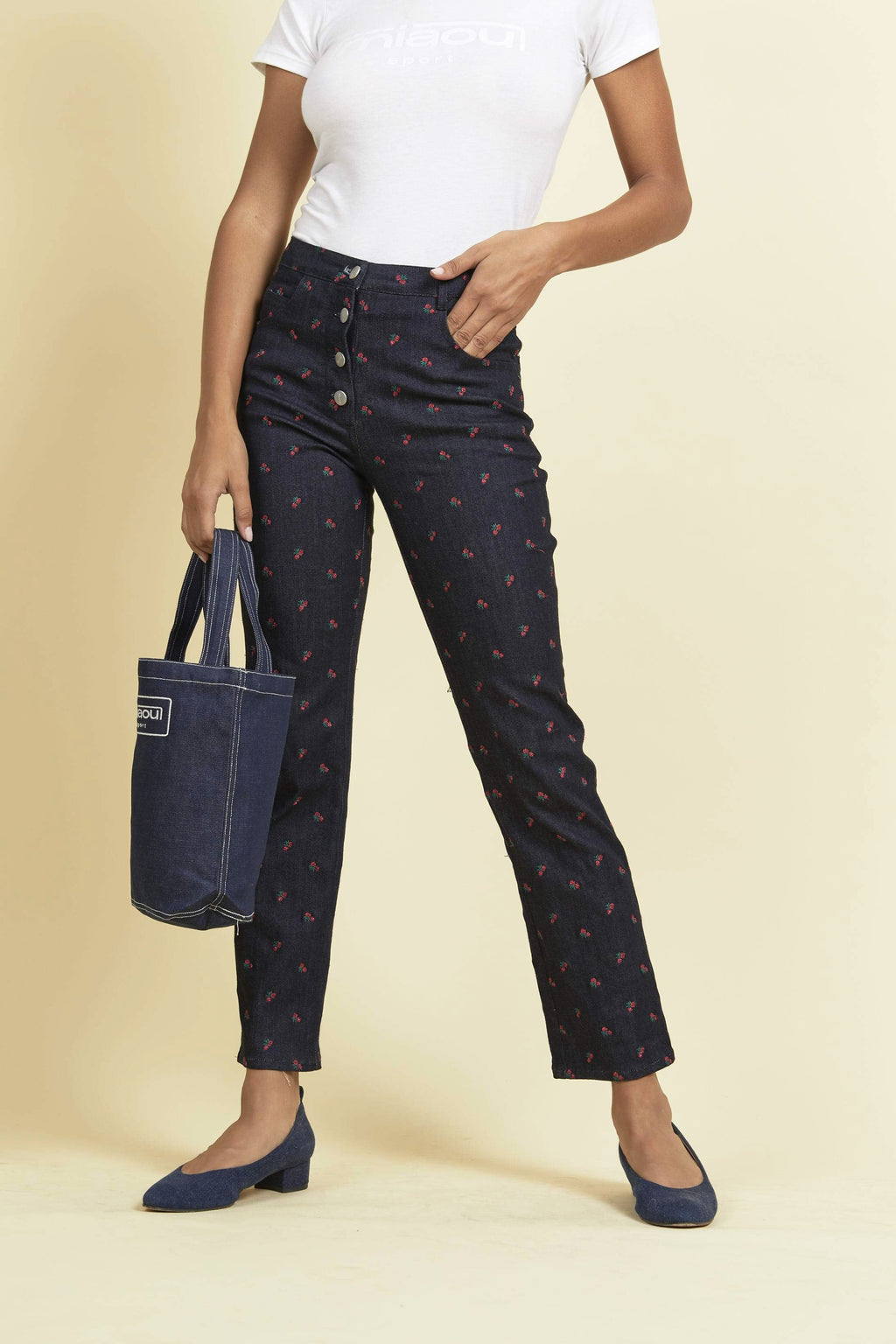 rose embroidered high waisted jeans