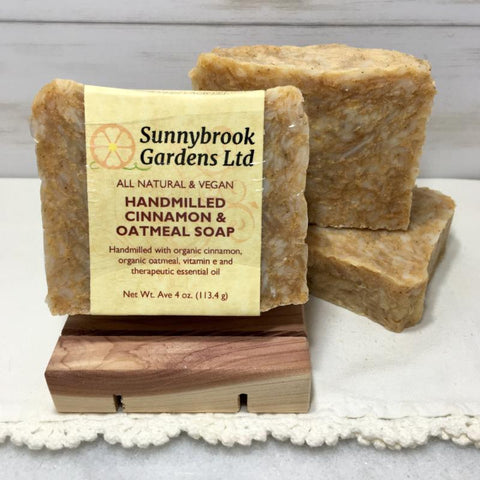 Enjoy our all natural, vegan friendly Hand-milled Cinnamon and Oatmeal Soap