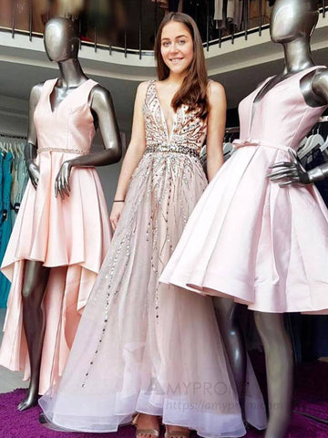 2019 A-line Straps Prom Dresses Beading Long Prom Dress Evening Dress AMY2456