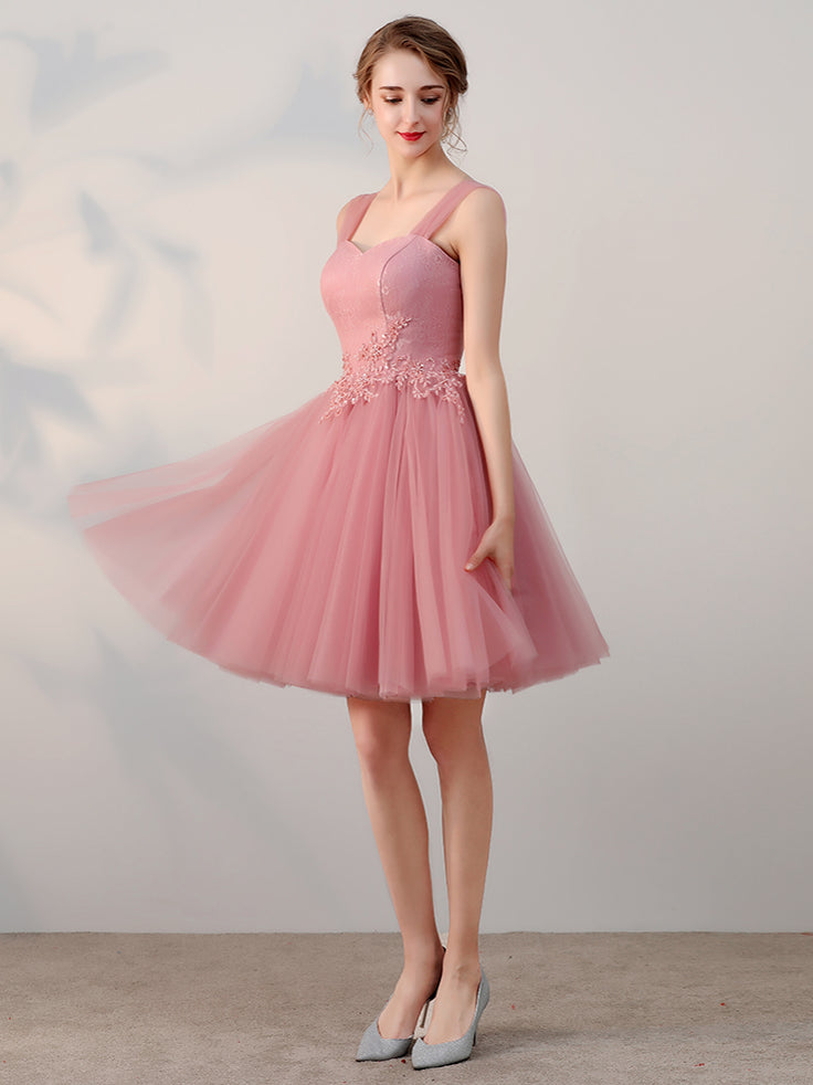 Chic A-line Tulle Straps Short Prom Dress Pink Simple Lace Applique Homecoming Dress AM238