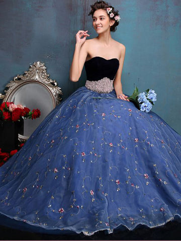 Chic A-line Sweetheart Blue Organza Applique Modest Prom Dress Evening Gowns AM375