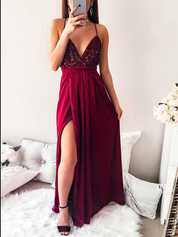 A-line Burgundy Prom Dress Spaghetti Straps Floor Length Sequins Prom Dresses Long Evening Dress AMY1067