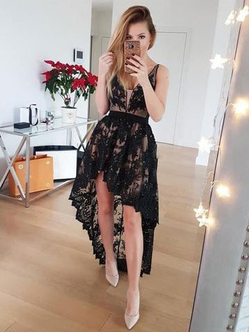 A-line High Low Prom Dress Asymmetrical Black Lace Prom Dresses Long Evening Dress AMY1155