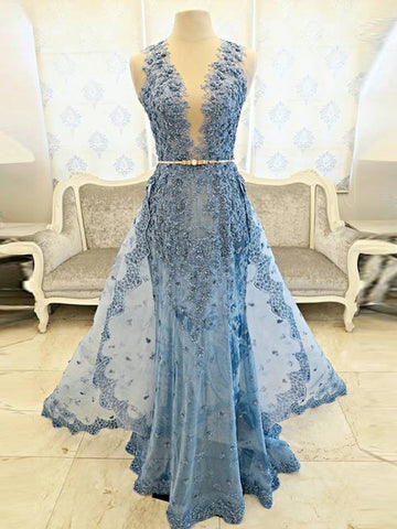 A-line High Neck Prom Dress Blue Beading Floor Length Lace Prom Dresses Long Evening Dress AMY1207