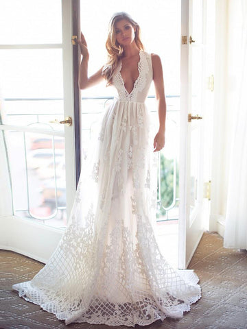 A-line Deep V Long Prom Dress With Lace Ivory Long Prom Dresses Evening Dress AMY1398