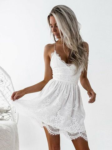 A-line Short Prom Dress Spaghetti Straps White Short Prom Dresses Lace Homecoming Dress|Amyprom