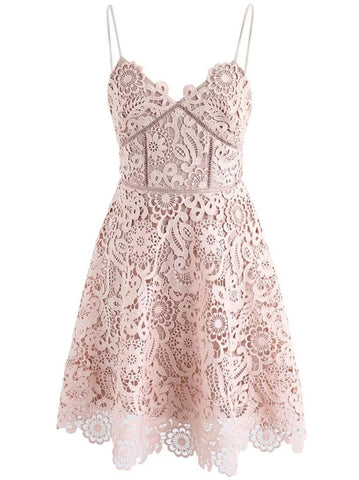 A-line Short Prom Dress Spaghetti Straps Pink Short Prom Dresses Lace Homecoming Dress|Amyprom