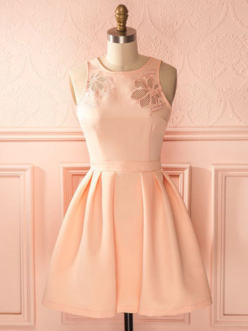 A-line Scoop Short Prom Dress Pearl Pink Short Prom Dresses Cheap Homecoming Dress|Amyprom