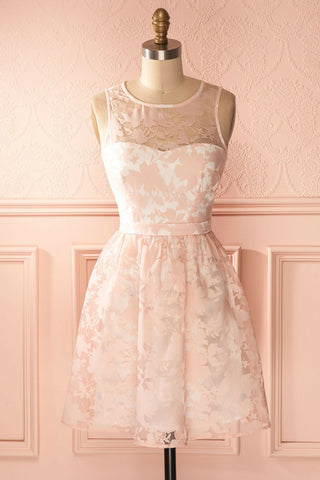 A-line Scoop Short/Mini Prom Dress Pink Lace Cocktail Dress Homecoming Dress AMY1452