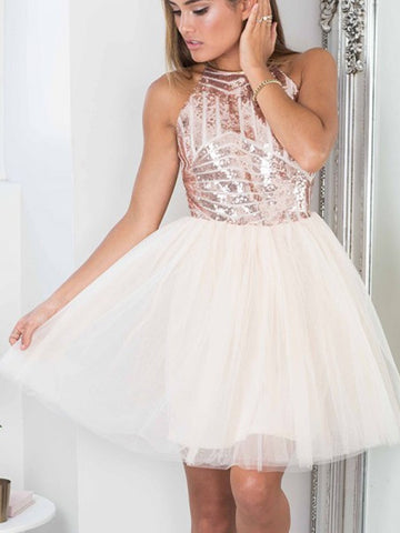 A-line Short Prom Dress Spaghetti Straps Pink Short Prom Dresses Sequins Homecoming Dress|Amyprom
