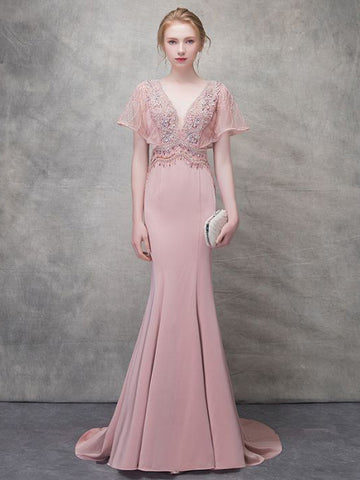 2018 Trumpet/Mermaid Prom Dresses Pink Bateau Simple Floor-length Prom Dress Evening Dress AMY147