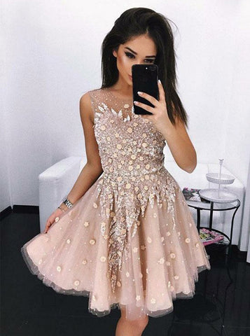 A-Line Scoop Short/Mini Prom Dress With Lace Homecoming Dresses|Amyprom