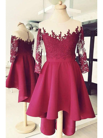 A-line Scoop High Low Prom Dress With Lace 3/4 Sleeve Homecoming Dresses|Amyprom
