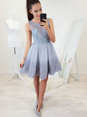 A-line Scoop Short Prom Dress With Lace Lavender Homecoming Dresses|Amyprom