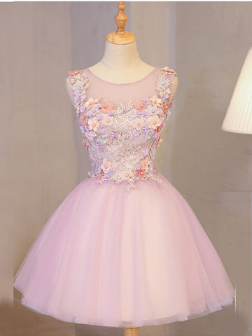 A-line Scoop Pink Homecoming Dress Short With Lace Applique Short Prom Dress|Amyprom