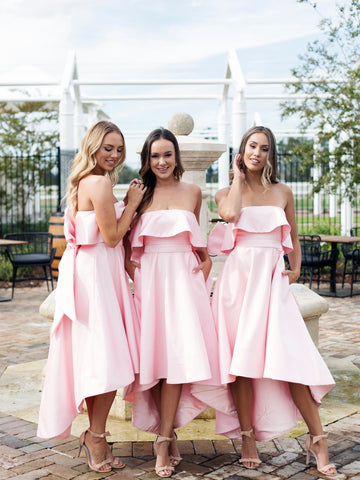 Chic Pink Strapless Bridesmaid Dress A-line High Low Bowknot Bridesmaid Dresses AMY2043