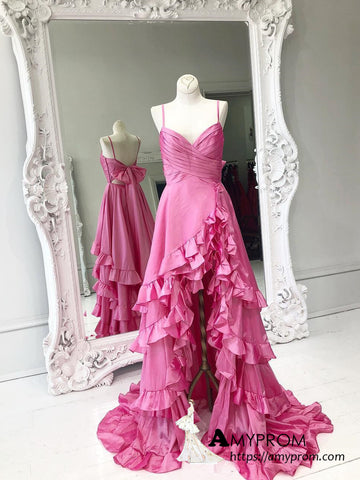 Chic A-line Spaghetti Straps Fuchsia Long Prom Dresses Taffeta Elegant Prom Dress Evening Gowns AMY3114