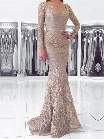 Chic Mermaid Prom Dresses Floor-length Long Sleeve V neck Lace Long Prom Dress Evening Dresses AMY416