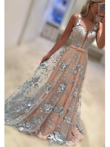 Charming A-line Bateau Floor-length Tulle Prom Drsess Formal Dress SKY905