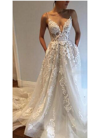 Charming A-line Spaghetti Straps Floor-length Prom Drsess Evening Gowns SKY908